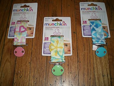 New Munchkin Pacifier Nuk Clip  - (Assorted Colors & Patterns) Blue Pink Green