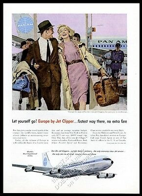 1959 Pan Am airlines happy couple to Europe lilac sky plane art vintage print ad