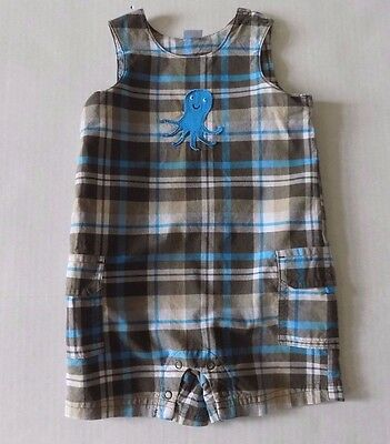 CARTER'S Sleeveless Short Rompers Boys Size 12 Months Brown/Blue/White EUC