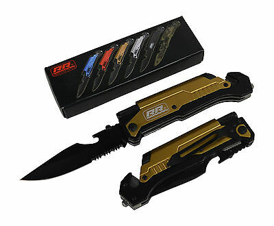 Rogue River Tactical Gold Multitool Survival Folding Pocket Knife Rescue Knives