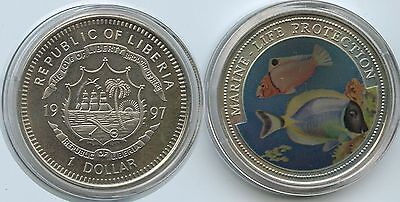 G0356 - Liberia 1 Dollar 1997 Marine Life Protection KM#570 Multicolor Farbmünze