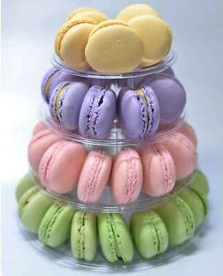 New 4-Tier Round French Macaron Tower Stand With Carrying Case, Food-Safe!