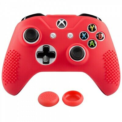 New Anti-slip Flexible Rubber Case Thumbstick Grip for Xbox One S Controller Red