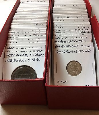 1800s-1900s World Lot of 100 Carded Coins with Silver, many BU-AU