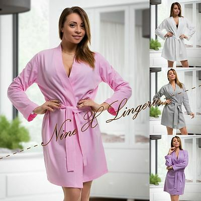 New Womens Broderie Anglaise Cotton Belted Night Robe House Coat