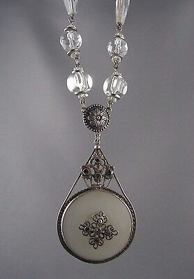 Antique Art Deco Camphor Glass Marcasite Sterling Crystal Flapper Necklace