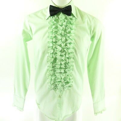 Vintage 50s After Six Ruffle Tuxedo Shirt Mens S Deadstock Green Union Made