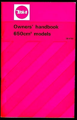 BSA  A65 Instruction Book Lightning Thunderbolt 1972 models