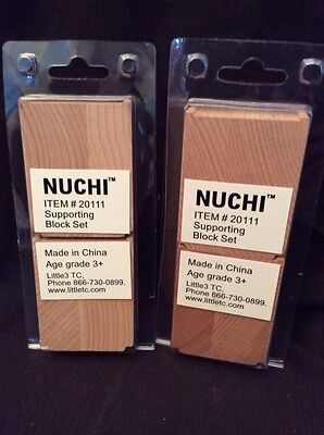 Wooden Train Riser Support Blocks Nuchi Lot Of 4 Compatible Bridges Track New