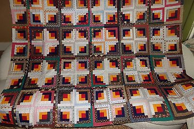 """Antique Late 1800's Handmade Quilt Top LOG CABIN Turkey Red Cheddar 70""""X82"""" VGC"""