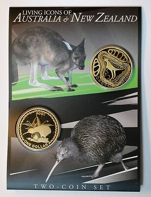 2005 Living Icons of Australia & New Zealand Two Coin Set