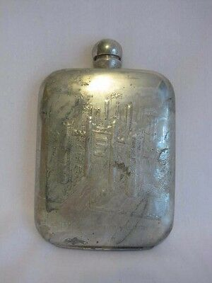 Antique Pewter Flask Sheffield England Hampton Court Palace Embossed Scene
