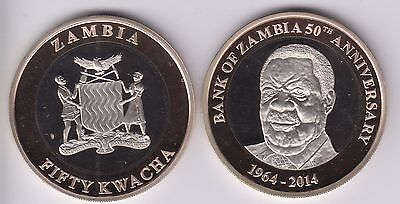 ZAMBIA 50 Kwacha 2014 bimetal Proof, with box and COA