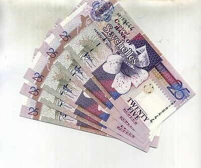 Seychelles 1998 25 Rupees 5 Consecutively Numbered Currency Note Lot Ch Cu