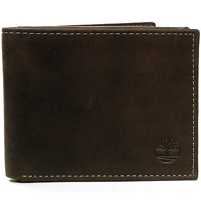 Timberland Men's Bifold Wallet Genuine Leather Flip ID Billfold Holder Passcase