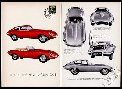 1961 Jaguar XKE XK-E roadster coupe 6 photo vintage print ad