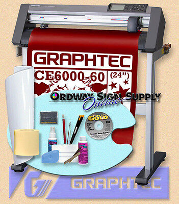 "OBO Graphtec 24"" CE6000 60 Vinyl Plotter Cutter w Stand + Accessories 2 yr  Wnty"