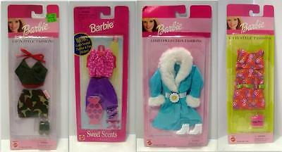 Lot of 4 Barbie Fashions/Sweet Scents/Coat Collection/Go In Style Camo/Dress/NIP