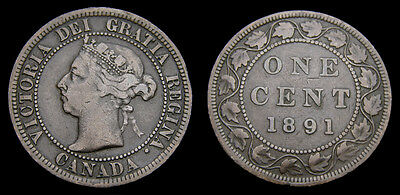 Canada 1891 Large One 1 Cent Queen Victoria LDLL F-15