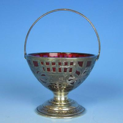 Cranberry Glass Footed Sterling Silver Overlay Handled Basket