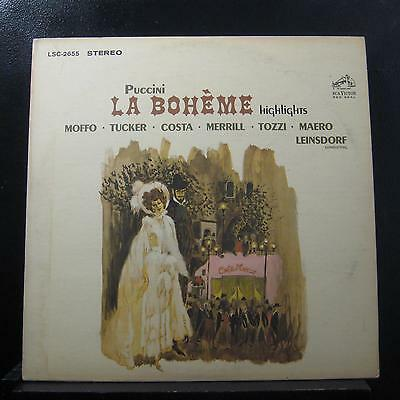 Giacomo Puccini - La Boheme Highlights LP Mint- LSC 2655 2s/4s Record w/Book