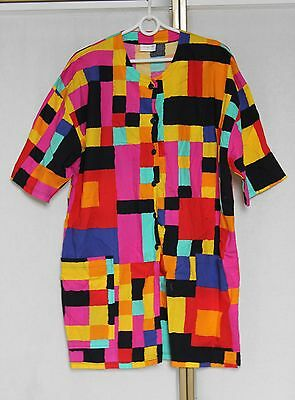 Vintage 80s Abstract Neon Bright Crazy Print Cotton Long Blouse Tunic Shirt Top