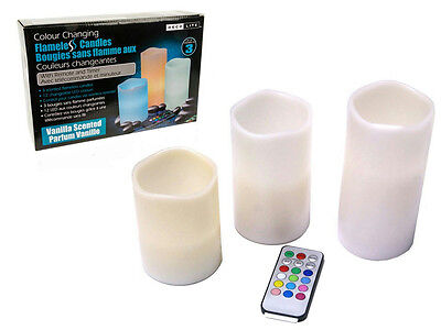 NEW Deco Lite 3PC 12 Colour Changing Candle Set with Remote Control