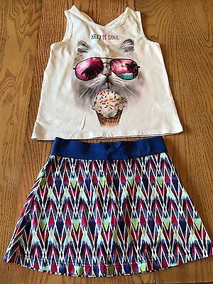 PLACE   Girls  Outfit,  White Graphic Tank Top &  Skort/Skirt  Size  7/8