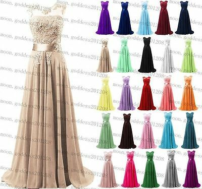 Long Chiffon Lace Evening Formal Party Ball Gown Prom Bridesmaid Dress Size 6-20
