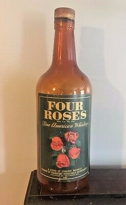 Rare Huge Circa 1940s Four Roses Whiskey Glass Brown Bottle Advertising Display