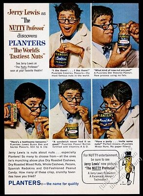 1963 Jerry Lewis The Nutty Professor 5 photo Planters Peanuts vintage print ad