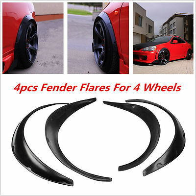 4pcs Universal Black Fender Flares Flexible Fender Durable Polyurethane For Car