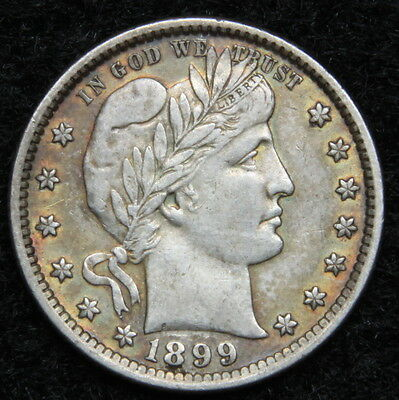 1899 Barber Quarter 25 Cents - Very Nice Coin, Free Shipping (5238)