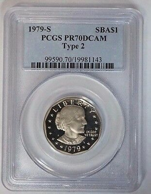 1979-S $1 Susan B. Anthony SBA Commemorative Proof Dollar PCGS PR70DCAM Type 2