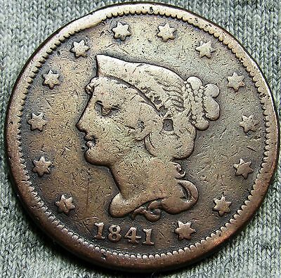 1841 Braided Hair Large Cent Penny --- TYPE COIN --- #D900