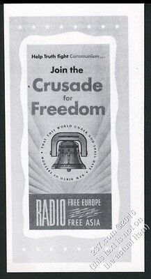 1951 Radio Free Europe Crusade for Freedom vintage print ad