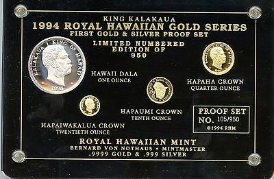 1994 Royal Hawaiian Gold Series King Kalakaua First Gold & Silver Proof Set