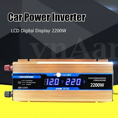 2200W DC12V to AC220V LCD Digital DisplayCar Power Inverter Adapter Converter