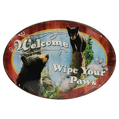 "Rivers Edge Products ""Wipe Your Paws"" Tin Sign 12""x17"" 1536"