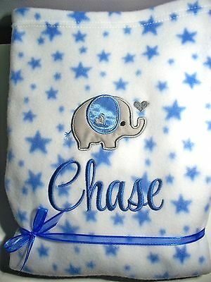 Personalised Baby Blanket Cot Pram 75cmx 90cm Gift ANY NAME Elephant  Embroidery