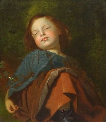 Fine Large 19th Century Pre-Raphaelite Girl Child Sleeping Antique Oil Painting