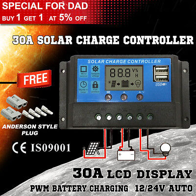 30A 12V-24V LCD Display PWM Solar Panel Regulator Charge Controller & Timer#BS