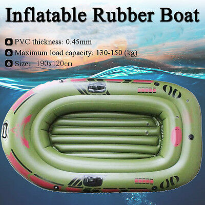 Green 2-Person Kayak Inflatable PVC Boat w/ Oars Air Pump Rope Fishing Dinghy