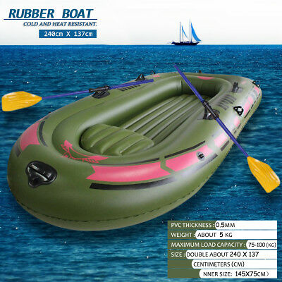 Green 3-Preson Kayak Inflatable PVC Boat w/ Air Pump & Oars Rope Fishing Dinghy