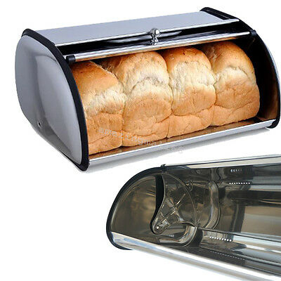 2017 Bread Bin Box Storage Keep Baked Container Stainless Steel Kitchen Counter
