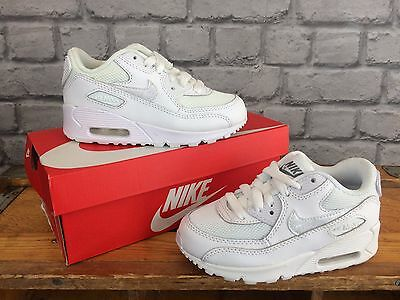 Nike Air Max 90 Childrens Trainers In White Leather & Textile - Various Sizes