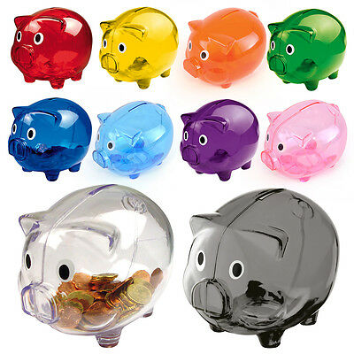 Piggy Bank Money Box Saving Coins Cash Fun Gift Plastic Pig Safe Transparent Kid