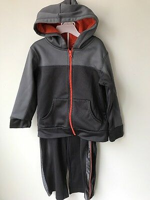 The Children's Place Outfit Boys Sz 5 6 Gray Orange Hoodie Jacket Pants