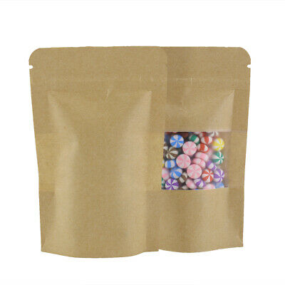 10x15CM Heavy Duty Grip Seal Bag Stand Up Pouch Brown Craft Paper Clear Window