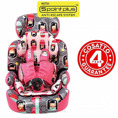 New Cosatto Zoomi Group 123 Car Seat Childs Carseat Booster Kokeshi Smile